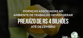 Doenças associadas ao ambiente de trabalho devem gerar prejuízo de R$4 bilhões até dezembro